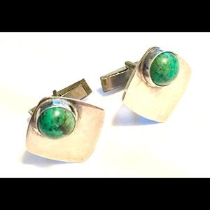 Vintage sterling silver turquoise cuff links